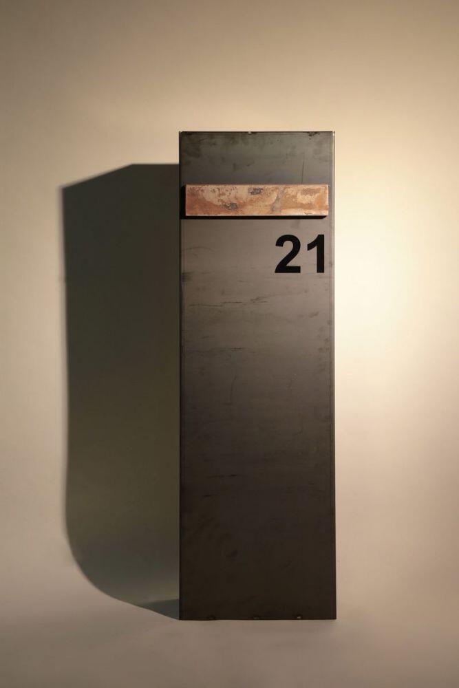 Freistehender Briefkasten Aus 3mm Corten Stahl