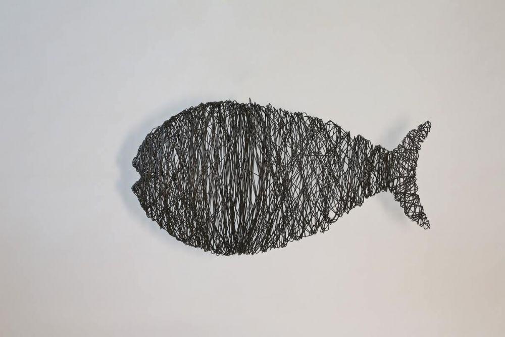 Fisch aus 2 mm Eisen Draht gewickelt und geschweißt