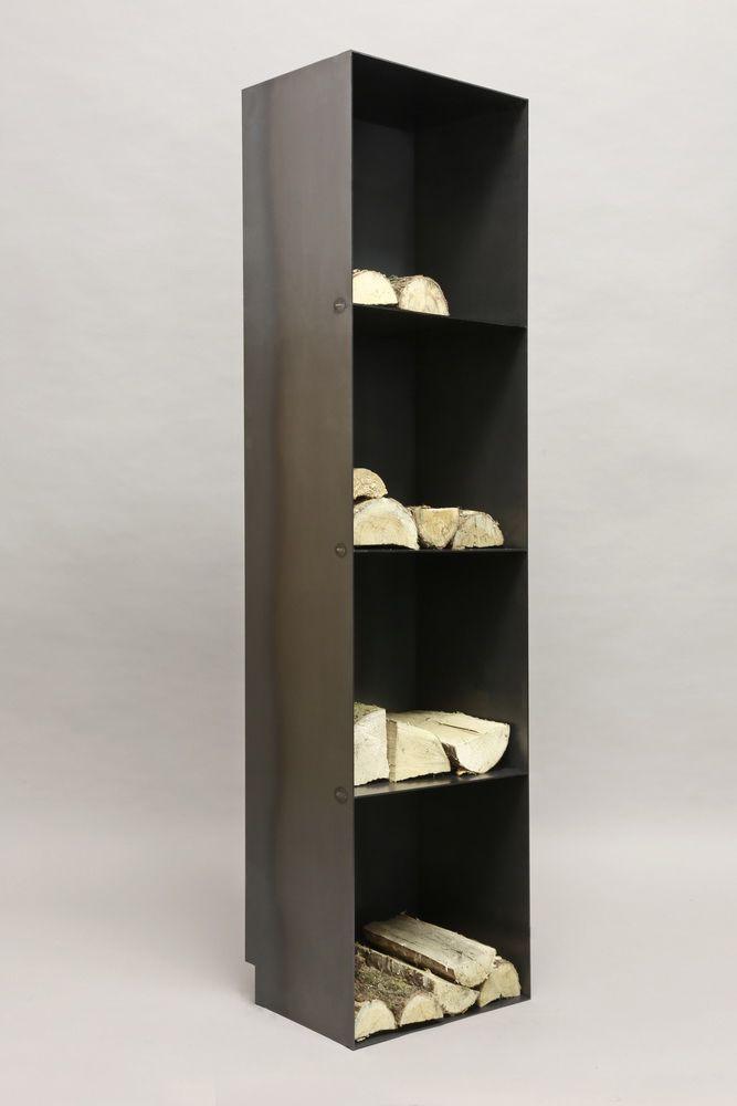 regal aus zunderstahl f r kaminholz. Black Bedroom Furniture Sets. Home Design Ideas