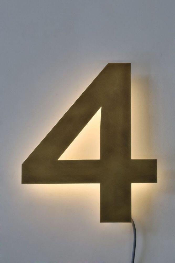 mit led beleuchtete hausnummer 4 aus tombak