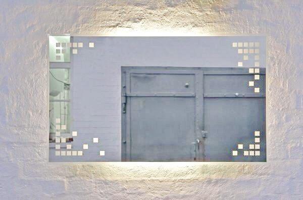 spiegel teilweise gesandstrahlt und mit led hinterleuchtet. Black Bedroom Furniture Sets. Home Design Ideas