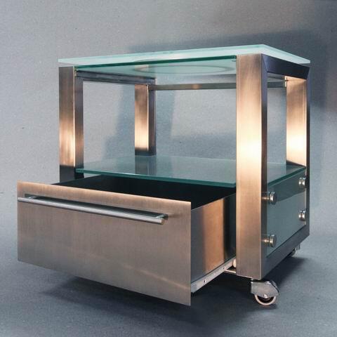 ma gefertigter fernsehunterschrank aus edelstahl. Black Bedroom Furniture Sets. Home Design Ideas