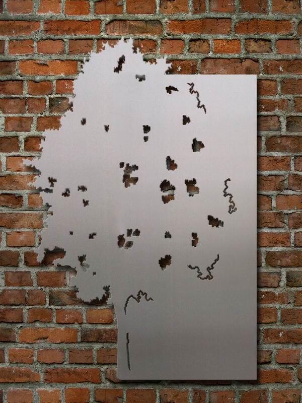 magnetpinnwand aus stahl oder edelstahl mit seitlichem baum. Black Bedroom Furniture Sets. Home Design Ideas