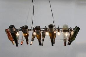 Kronleuchter Mit Flaschen ~ Rechteckiger kronleuchter aus rundstahl und flaschen