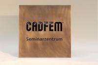 """Werbeschild """"CADFEM"""" aus  Messing mit lackierter Gravur"""