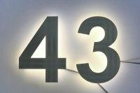 pulverbeschichtete 43 als LED Edelstahl Hausnummer