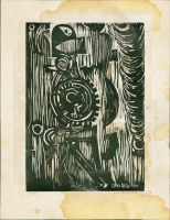 Holzschnitt von Otto Ditscher, gerahmt