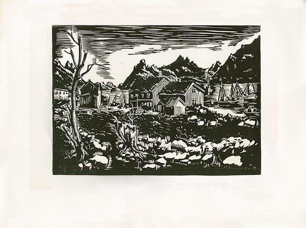 Original Linolschnitt von Gottfried Richter, gerahmt