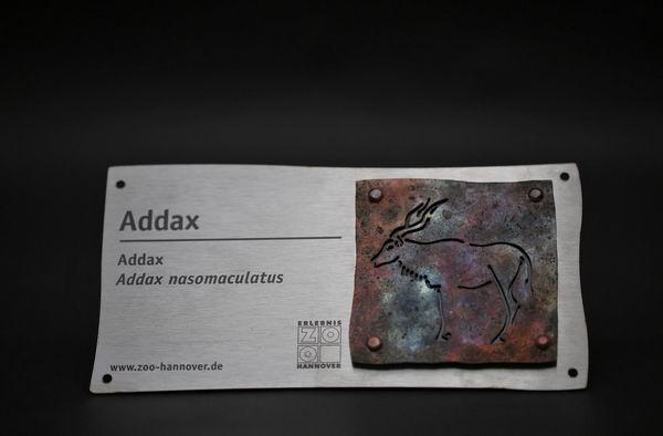 Addax Schild für den Zoo Hannover