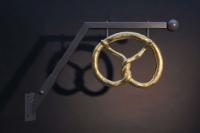 Brezel Ausleger aus Aluminium Guss mit 24 ct Blattgold  vergoldet