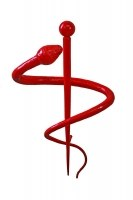 von Hand geschmiedeter, stilisierter Äskulap Stab als Skulptur