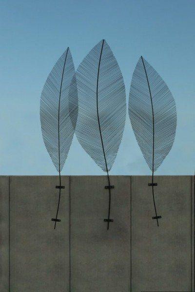 3 Stück Blätter aus Stahl