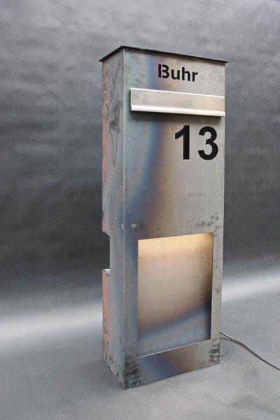 Der Auffällige - Corten Stahl Briefkasten mit LED Beleuchtung