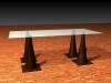 Tisch mit Untergestell aus Pylonen, in Bronze gegossen