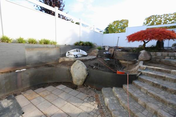 Gartengestaltung mit w nden aus corten stahl - Gartengestaltung wand ...