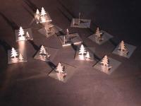 Klapptannenbäume aus Edelstahl, Metall Tannenbaum im Dreierpack