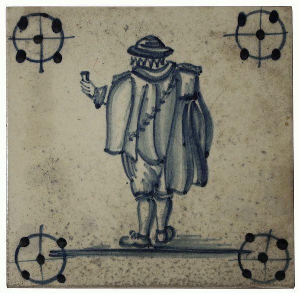 friesische Fliese mit der Rückenansicht eines Mannes