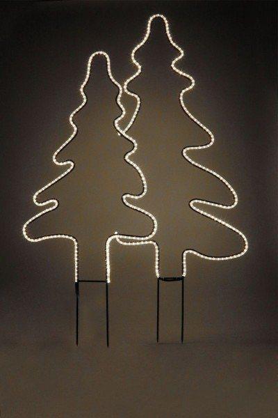 Doppeltannenbaum mit Lichtschläuchen