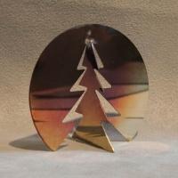Dreh Tannenbäume aus poliertem, flammoxidiertem Edelstahl im Dreierpack