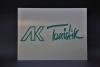 Firmenschild aus Edelstahl, farbig hinterlegt