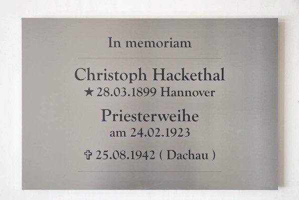 Gedenktafel für Christoph Hackethal