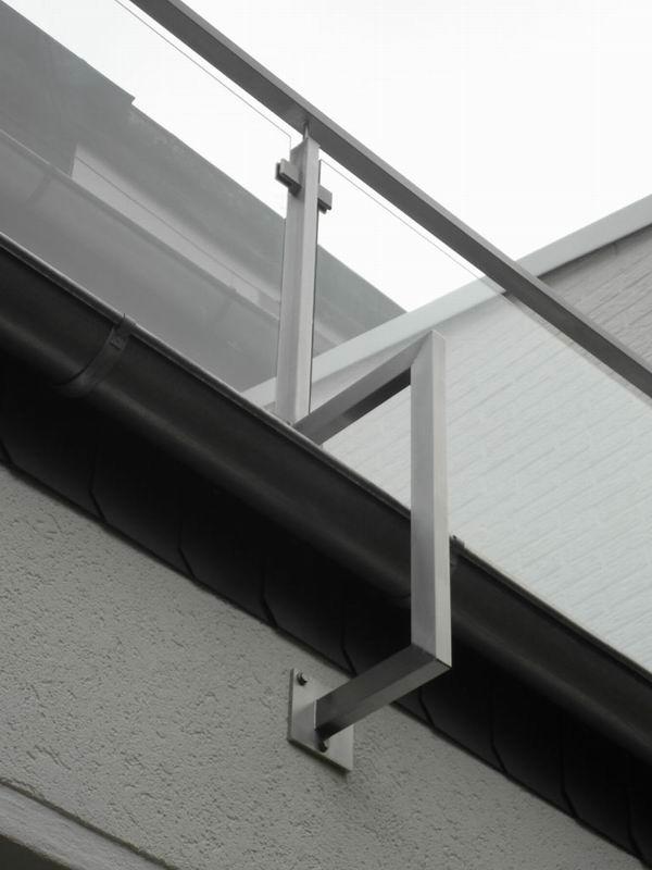 balkongel nder aus edelstahl rechteckrohr mit f llung aus. Black Bedroom Furniture Sets. Home Design Ideas