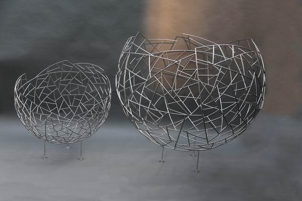Schalen aus Edelstahl mit Schmitzstruktur