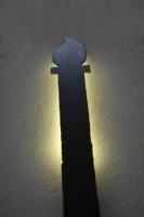 hinterleuchtete Fackelleuchte aus Stahl mit LED
