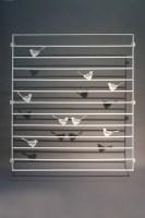 Fenstergitter mit Vögeln aus verzinktem und lackiertem Stahl