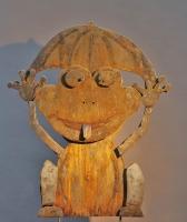 Plasmagetrennter Frosch aus rostigem Stahlblech