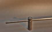 Halter für Gardinenstange aus D=16mm Rundstahl / Rohstahl, mit klarem Zaponlack lackiert