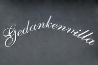 """Schriftzug """"Gedankenvilla"""" aus Edelstahl"""
