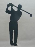 Der Golfer. Skulptur aus 3 mm Stahlblech plasmagetrennt, verzinkt und lackiert