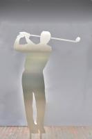 Hole in One - Golfer aus Edelstahl gelasert