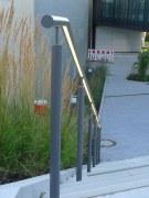 LED Lichtlinie in einem Edelstahl Handlauf