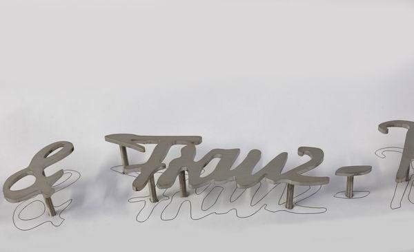 Handschrift aus Edelstahl für ein Grabmal