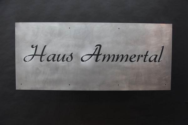 gelasertes Schild aus Stahl Haus Ammertal