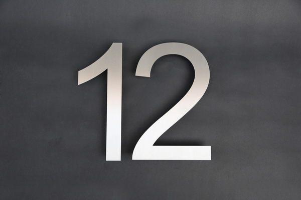 Edelstahl Hausnummer 12