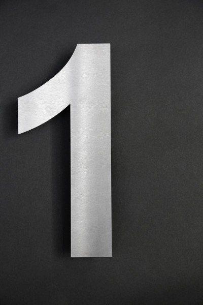 Edelstahl Hausnummer 1 mit horizontaler Schliffrichtung