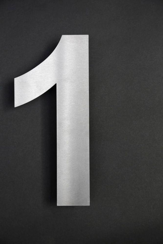 edelstahl hausnummer 1 mit horizontalem schliff. Black Bedroom Furniture Sets. Home Design Ideas