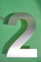"""Hausnummer """"2"""" mit LED hinterleuchtet"""