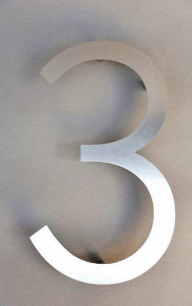 Einstellige Hausnummer 3 aus 3 mm Edelstahl