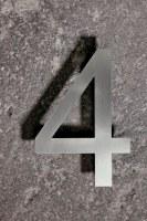 Hausnummer 4 aus Edelstahl gelasert