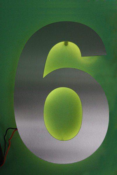 """LED Hausnummer """"6"""" hinterleuchtet"""
