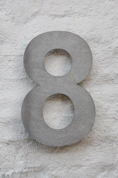 Edelstahl Hausnummer 8