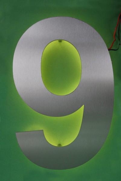 """LED Hausnummer """"9"""" hinterleuchtet"""