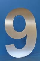 Hausnummer neun aus Edelstahl gelasert