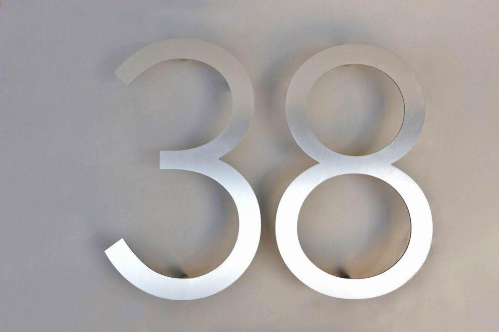 38 zweistellige hausnummer aus 3 mm edelstahl. Black Bedroom Furniture Sets. Home Design Ideas