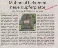Bericht im Huckup über die Gedenktafel für das Kaiser-Wilhelm Denkmal
