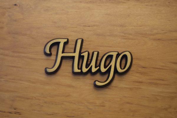 "Aluminium Schriftzug ""Hugo"""